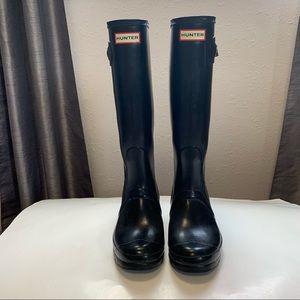 Hunter tall gloss boots black sz 9 woman's 8 men's